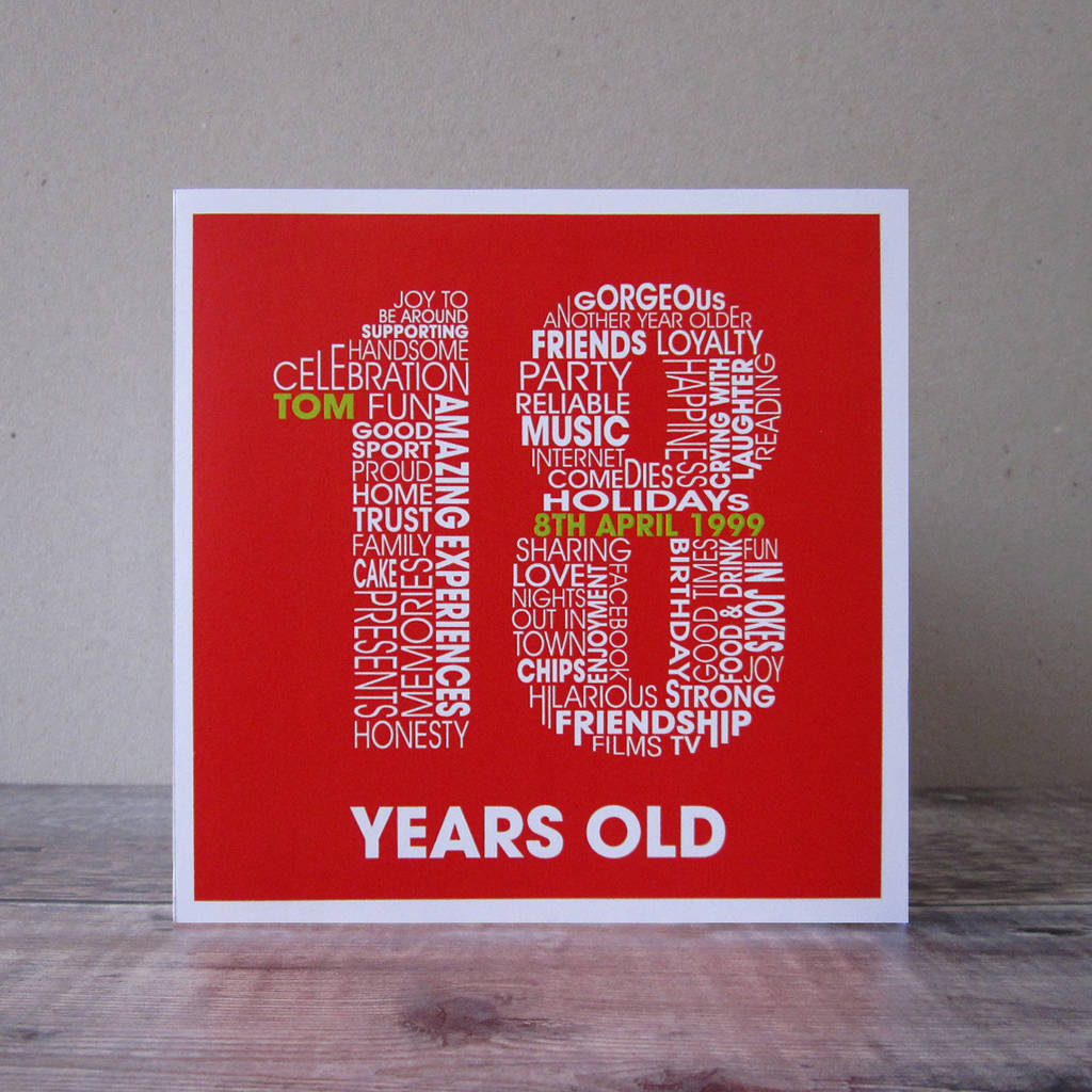 Personalised 18th Birthday Card For Teenage Boys