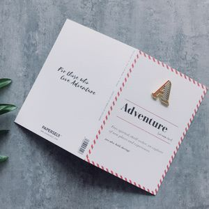 A Is For Adventure Pin Badge And Card