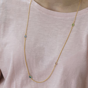 Gold Long Family Birthstone Necklace - birthstone jewellery gifts