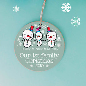 Personalised Family Christmas Snowmen Decoration