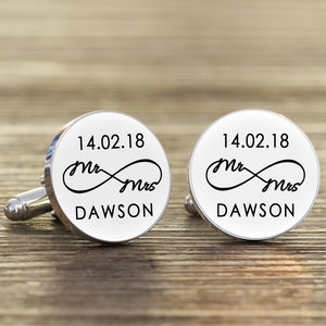 Personalised 'Mr And Mrs' Infinity Cufflinks - cufflinks