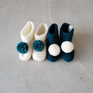 Pompom Baby Booties
