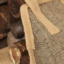 Personalised Natural Jute Herringbone Log Bag