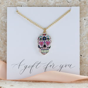 Multi Coloured Pattern Skull Pendant - necklaces & pendants