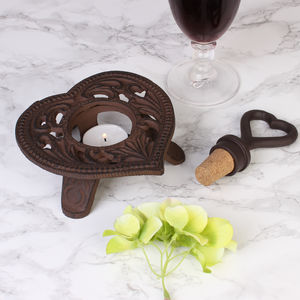 Cast Iron Heart Tea Light Holder And Bottle Stopper Set