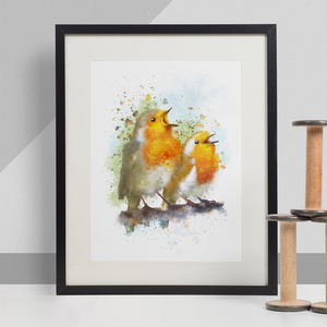 Robins Animal Print, Wildlife Art Print - nature & landscape