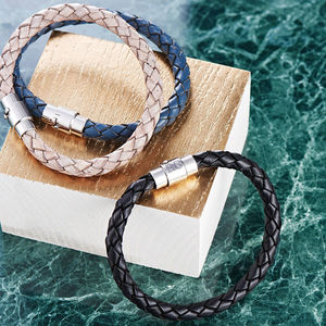 Men's Personalised Clasp Plaited Leather Bracelet - for him