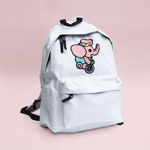 Embroidered Elephant Backpack. White Or Sky Blue
