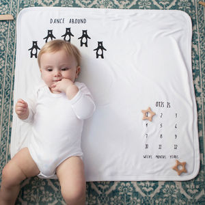 Personalised, Milestone Bear Baby Blanket