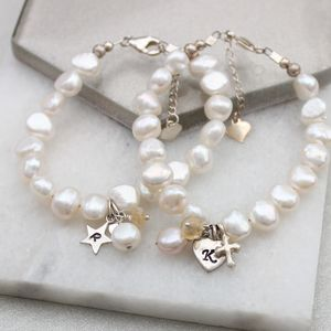 Pearl And Birthstone Christening Bracelet - charms, charm bracelets & necklaces