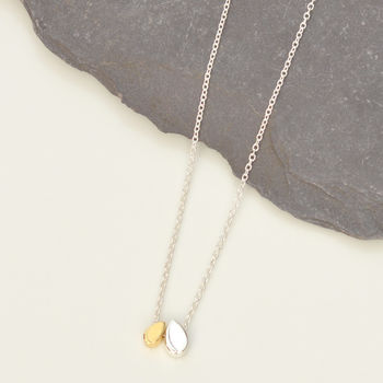 Silver And Gold Droplets Necklace