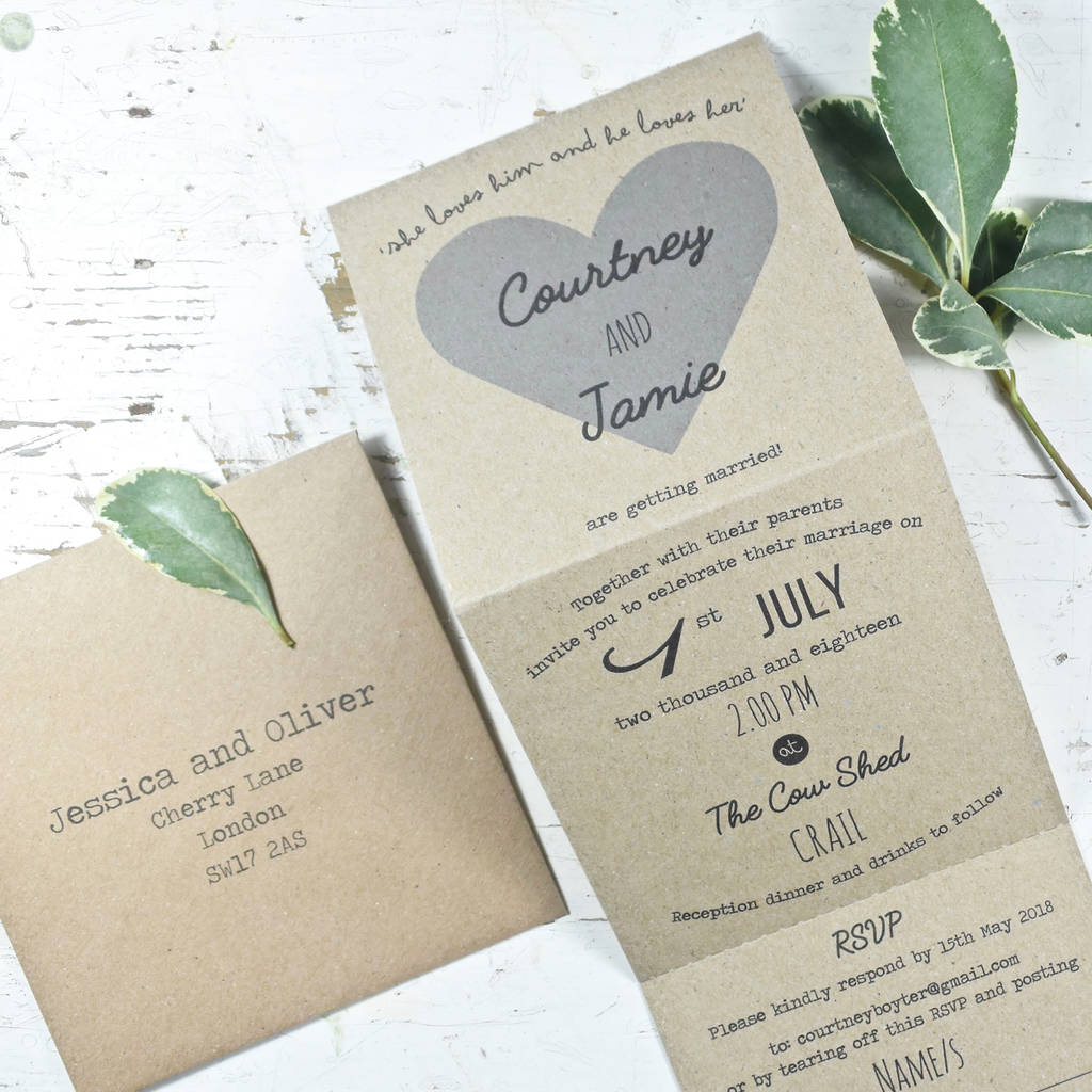 recycled heart tri folded wedding invitation by paper and inc