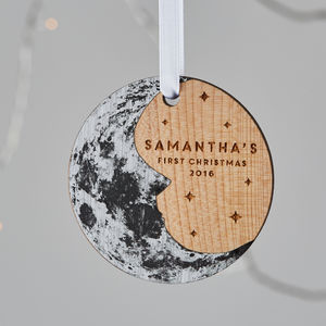 Baby's First Christmas Moon Tree Ornament - baby's first christmas
