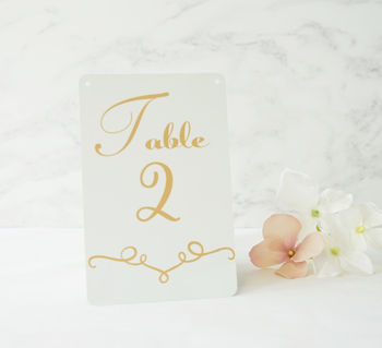 Personalised Classic Wedding Table Number Metal Sign