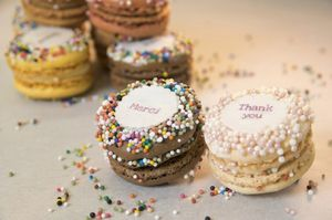 100 Mini Personalised French Macarons - edible favours