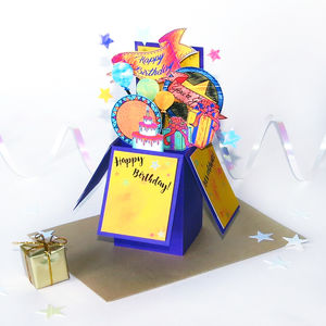 Personalised 3D Pop Up Birthday Box Card Purple - birthday cards