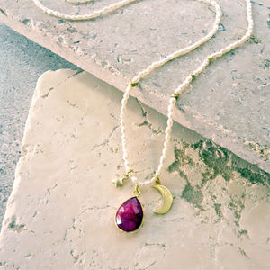 July Ruby Precious Birthstone Necklace