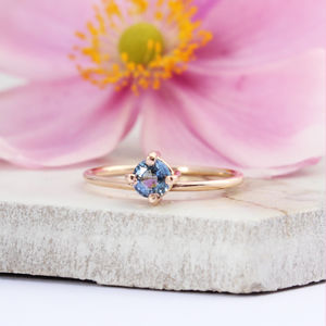 Raine 9ct Rose Gold Round Blue Sapphire Bohemian Ring - rings