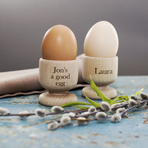 Personalised Wooden Egg Cup Holder