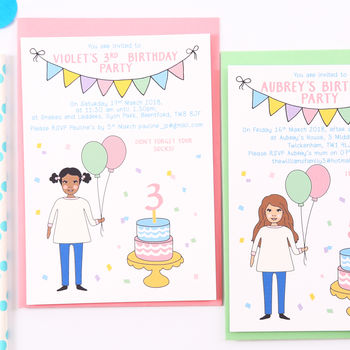 Personalised Girl Birthday Party Invitations