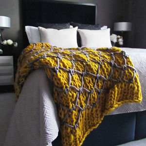 Giant Knit Throw In Two Colour Stitch - bedroom
