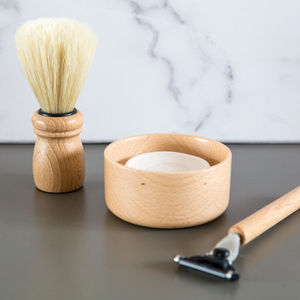 Beech Wood Travel Shaving Set - gifts for him