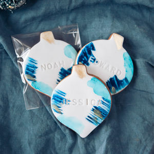 Six Personalised Christmas Bauble Biscuits - kitschmas christmas