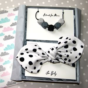 Polka Dot Mum And Baby Teething Gift Set - hair accessories