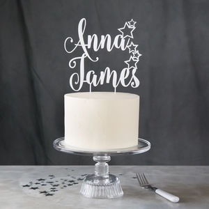 Personalised Star Couples Cake Topper - cake toppers & decorations