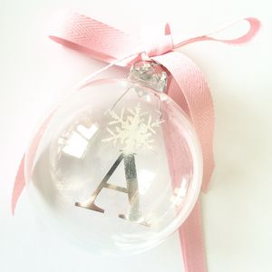Alphabet Letter And Snowflake Personalised Glass Bauble
