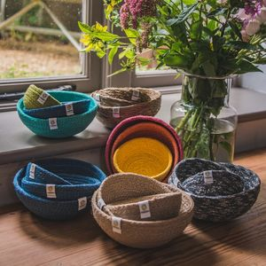 Set Of Three Jute Mini Bowls - baskets