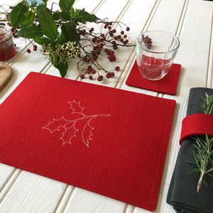 Holly Wool Felt Seasonal / Christmas Placemats - placemats