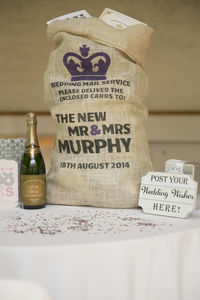 Personalised Hessian Wedding Card Sack Crown - room decorations