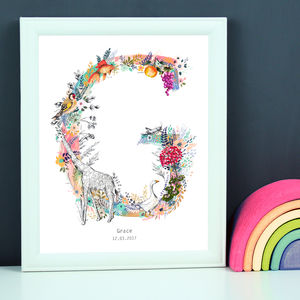 Personalised A To I Pastel Wildlife Letter Print - animals & wildlife
