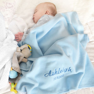 Personalised Baby Blue Fleece Blanket - children's room