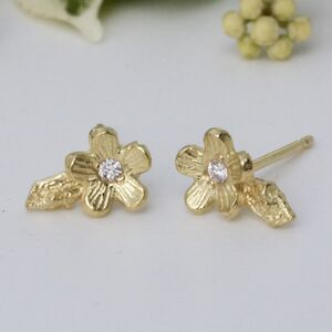 18ct Gold And Diamond Cherry Blossom Stud Earrings
