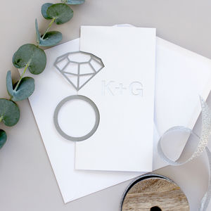 Personalised Cut Diamond Ring Card - engagement gifts