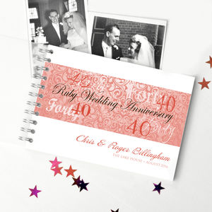 Personalised Ruby Wedding Anniversary Guestbook - 40th anniversary: ruby