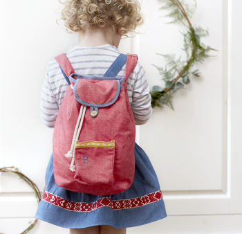 Personalised Red Folk Kids Rucksack
