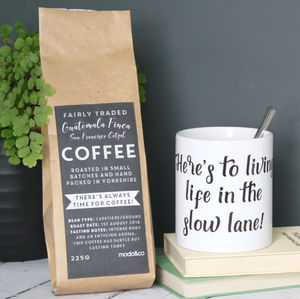 Personalised 'Life In The Slow Lane' Coffee And Mug Set