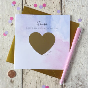 Be My Bridesmaid Card With Scratch Off Heart - be my maid of honour