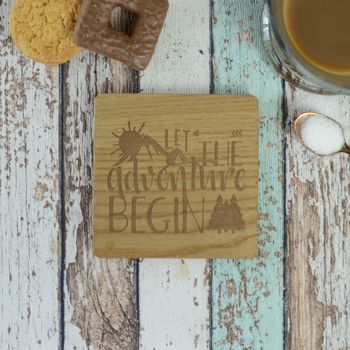 Let The Adventure Begin Personalised Engraved Coaster