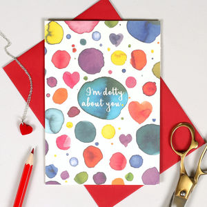 Dotty About You Personalised Valentine's Card - winter sale