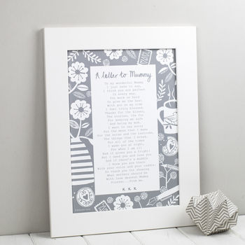 A Letter To Mummy Poem Print