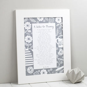 A Letter To Mummy Poem Print - gifts for mothers