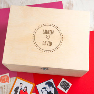 Cute Couple's Names Personalised Engraved Keepsake Box - storage & organisers