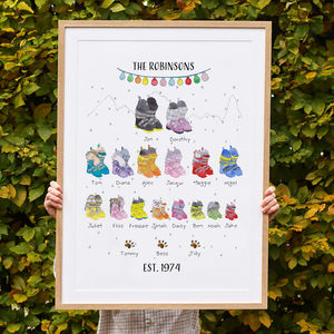Personalised Ski Boot Family Tree Print