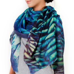 Gift For Her, Cashmere Silk Printed Scarf, Peacock - 60th birthday gifts