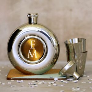 Monogram Porthole Hipflask Set - wedding thank you gifts