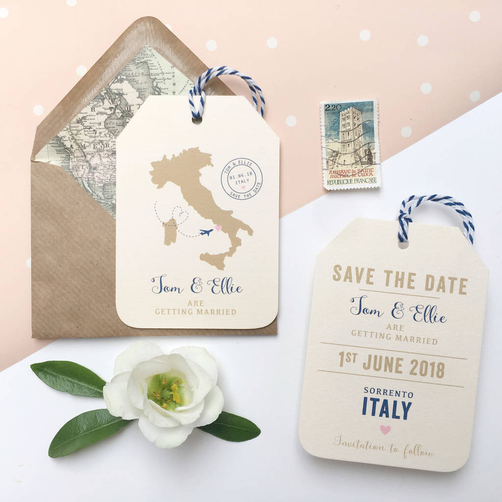 location wedding abroad save the date luggage tag by ditsy chic ...